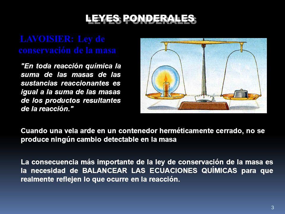 LEYES PONDERALES LAVOISIER: Ley de conservación de la masa.