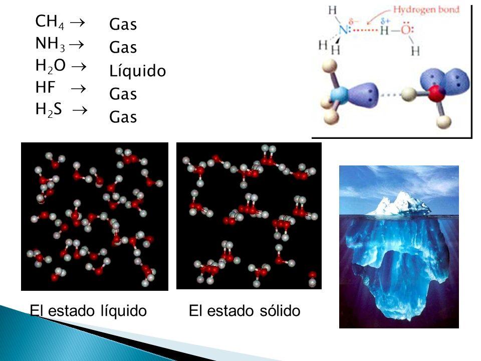 CH4  NH3  H2O  HF  H2S  Gas Líquido El estado líquido El estado sólido