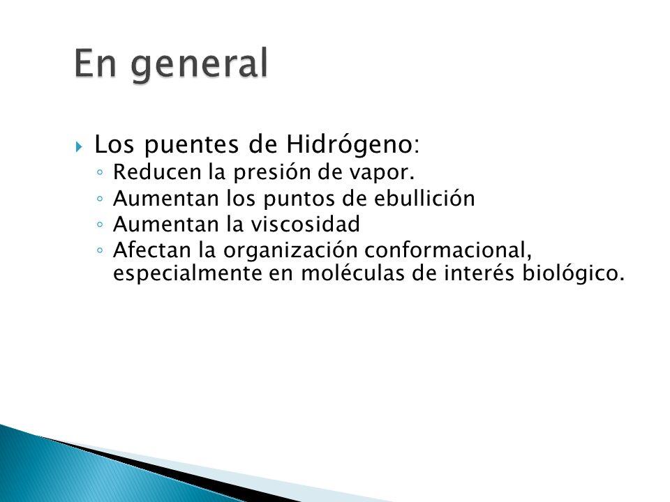 En general Los puentes de Hidrógeno: Reducen la presión de vapor.