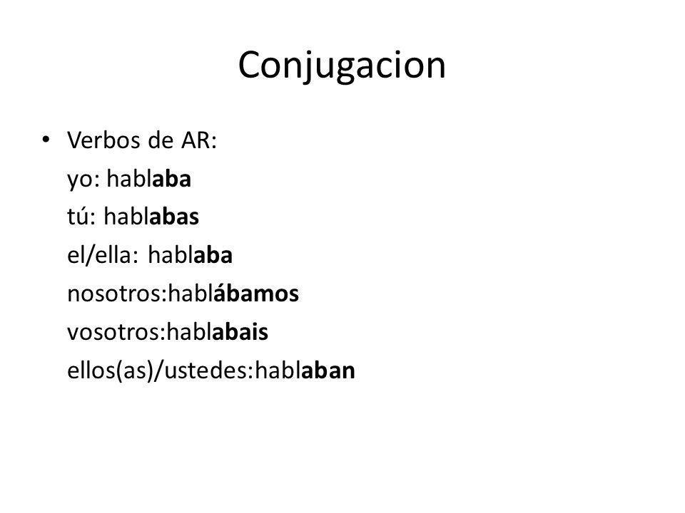 Conjugacion Verbos de AR: yo: hablaba tú: hablabas el/ella: hablaba