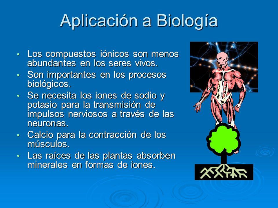 Aplicación a Biología Los compuestos iónicos son menos abundantes en los seres vivos. Son importantes en los procesos biológicos.
