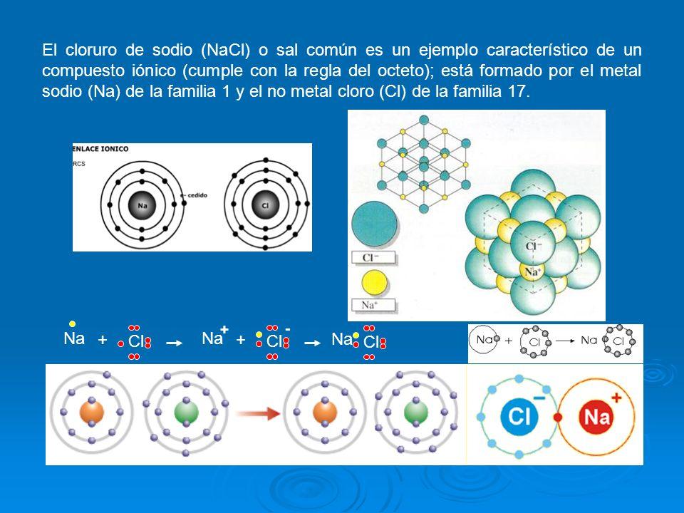 El cloruro de sodio (NaCl) o sal común es un ejemplo característico de un compuesto iónico (cumple con la regla del octeto); está formado por el metal sodio (Na) de la familia 1 y el no metal cloro (Cl) de la familia 17.