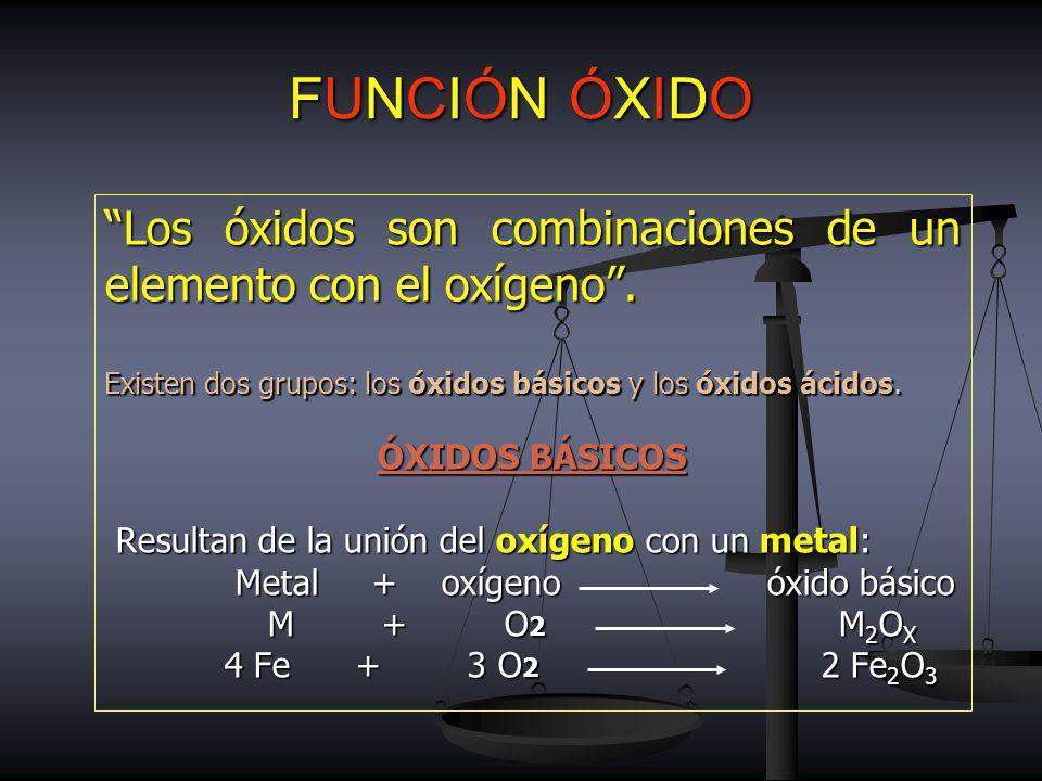 FUNCIÓN ÓXIDO Los óxidos son combinaciones de un elemento con el oxígeno . Existen dos grupos: los óxidos básicos y los óxidos ácidos.
