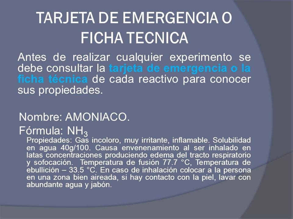 TARJETA DE EMERGENCIA O FICHA TECNICA