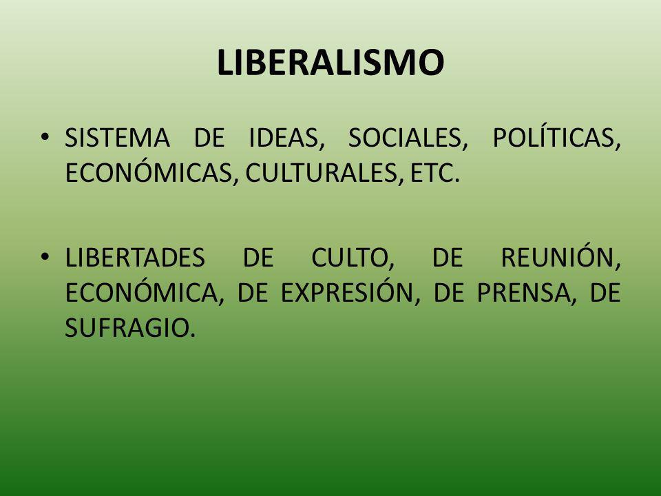 LIBERALISMO SISTEMA DE IDEAS, SOCIALES, POLÍTICAS, ECONÓMICAS, CULTURALES, ETC.