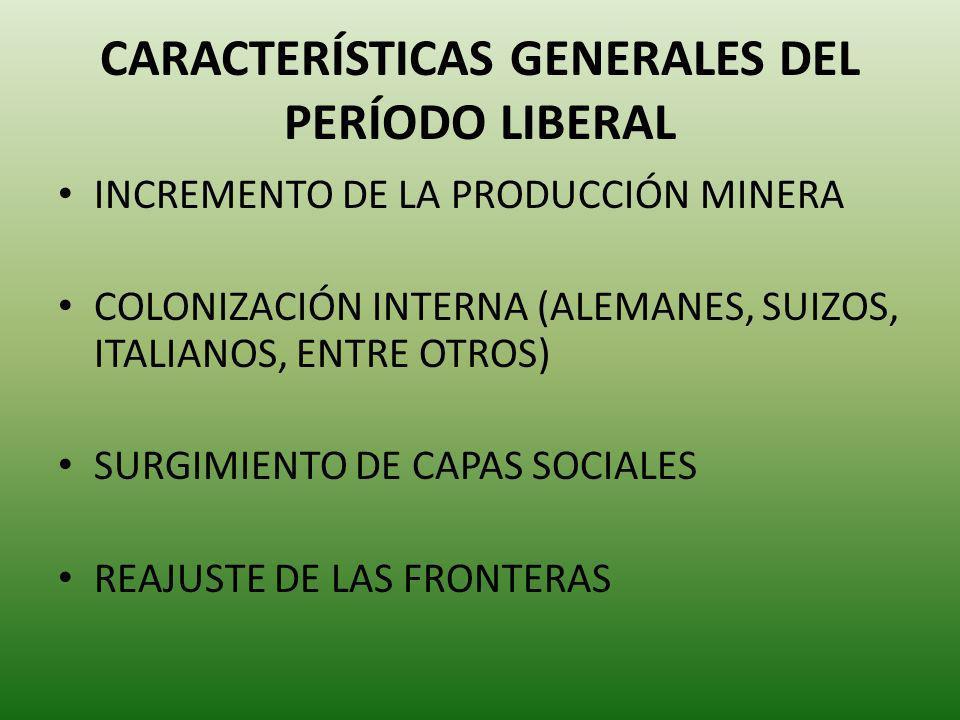 CARACTERÍSTICAS GENERALES DEL PERÍODO LIBERAL