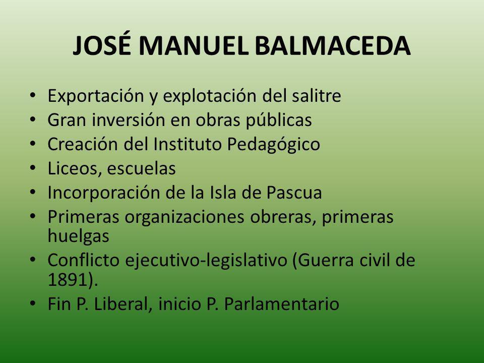 JOSÉ MANUEL BALMACEDA Exportación y explotación del salitre