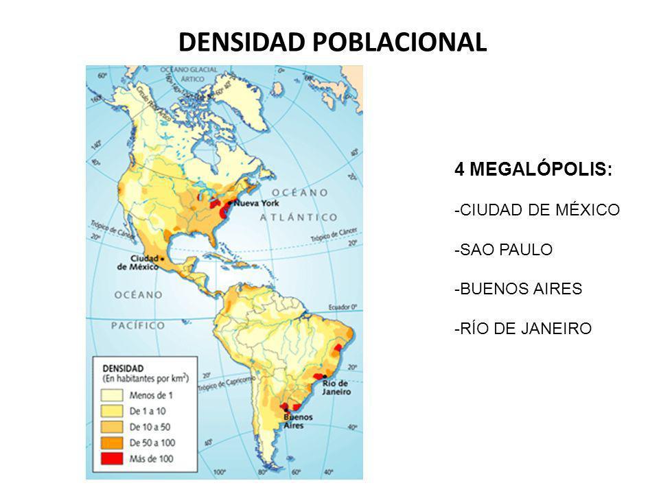 DENSIDAD POBLACIONAL 4 MEGALÓPOLIS: CIUDAD DE MÉXICO SAO PAULO