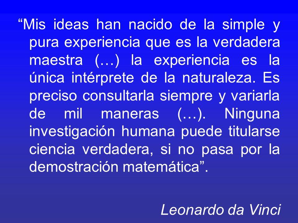 Mis ideas han nacido de la simple y pura experiencia que es la verdadera maestra (…) la experiencia es la única intérprete de la naturaleza.