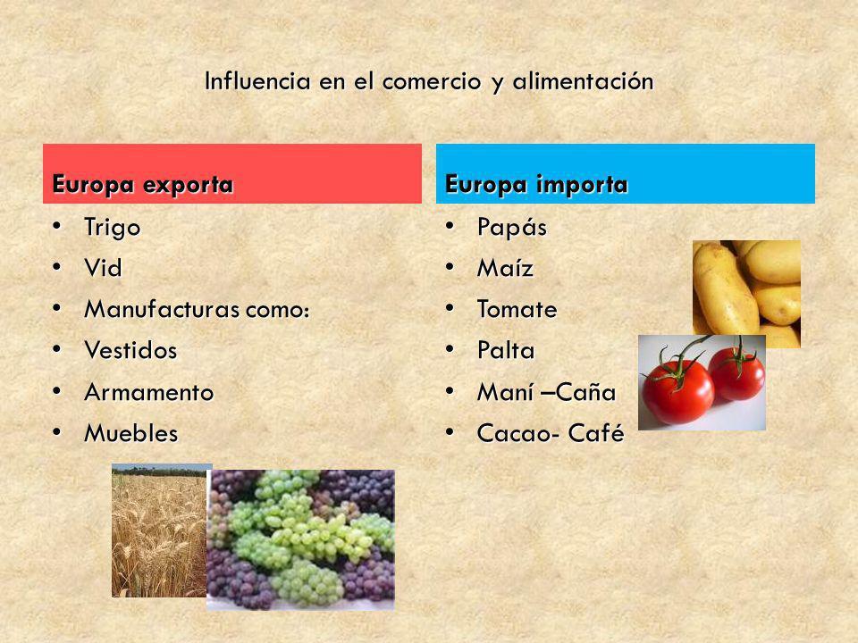 Influencia en el comercio y alimentación