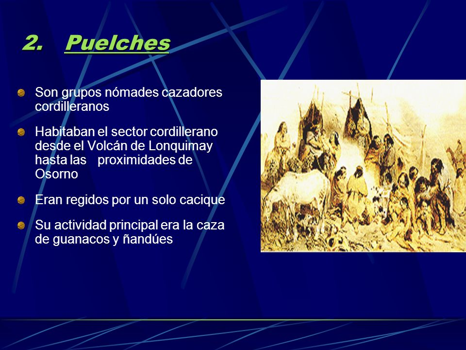 Puelches Son grupos nómades cazadores cordilleranos