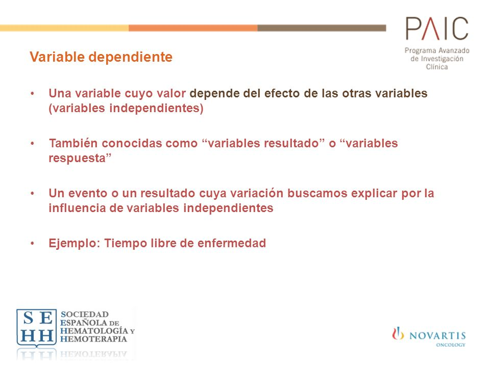 Variable dependiente Una variable cuyo valor depende del efecto de las otras variables (variables independientes)