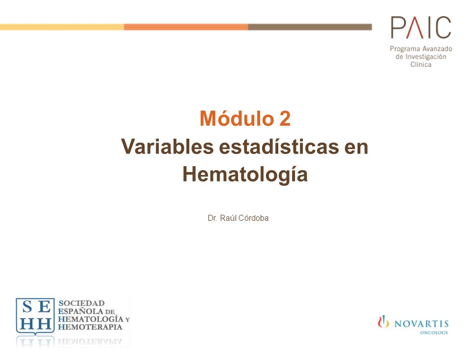 Módulo 2 Variables estadísticas en Hematología