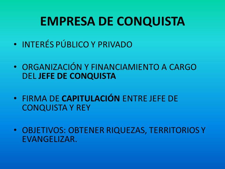 EMPRESA DE CONQUISTA INTERÉS PÚBLICO Y PRIVADO