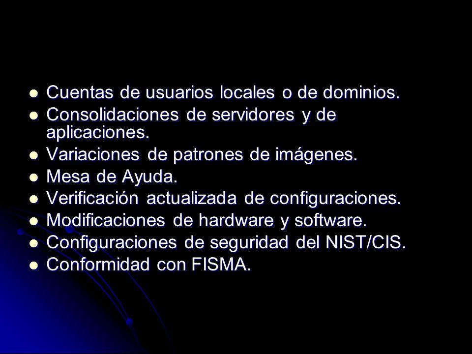 Cuentas de usuarios locales o de dominios.