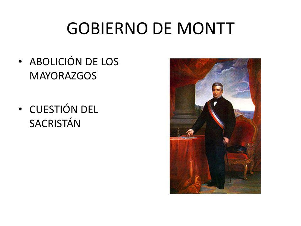 GOBIERNO DE MONTT ABOLICIÓN DE LOS MAYORAZGOS CUESTIÓN DEL SACRISTÁN
