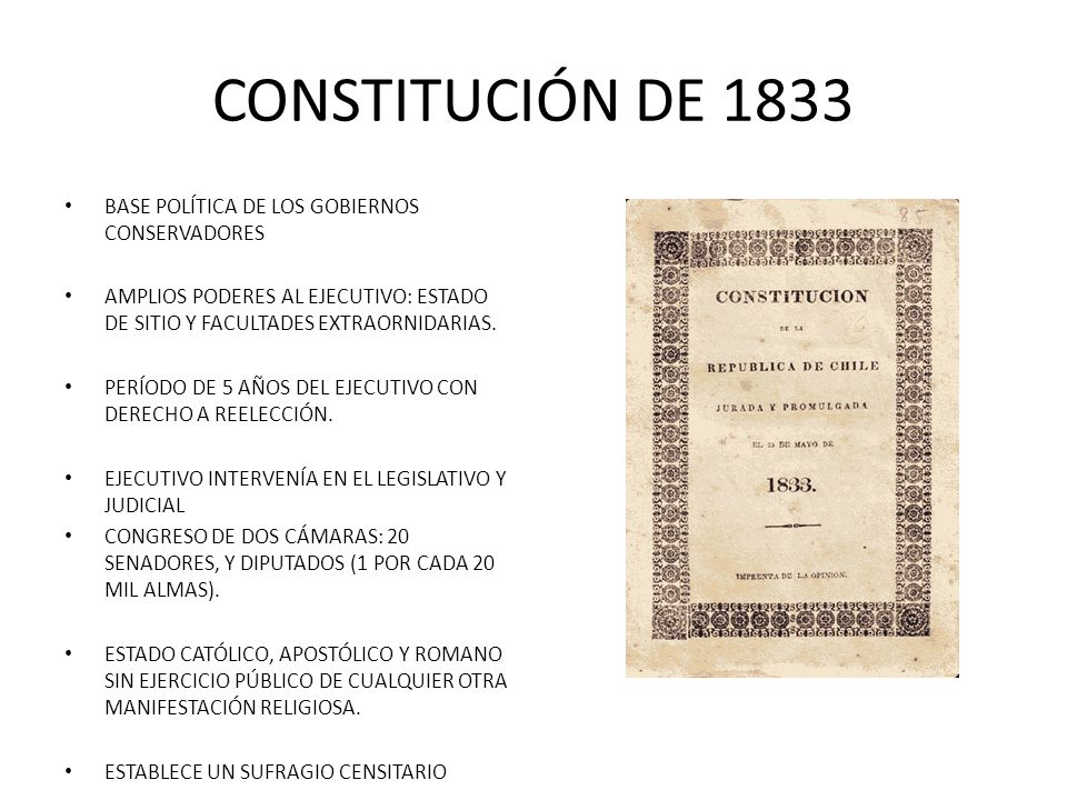 CONSTITUCIÓN DE 1833 BASE POLÍTICA DE LOS GOBIERNOS CONSERVADORES