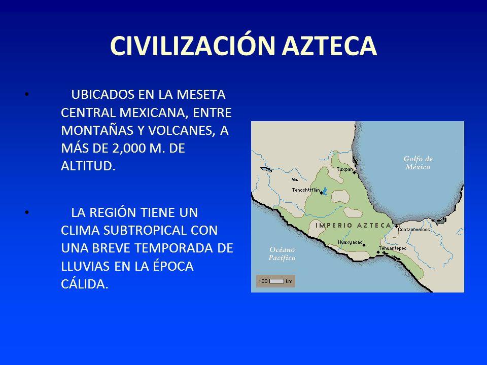 CIVILIZACIÓN AZTECA UBICADOS EN LA MESETA CENTRAL MEXICANA, ENTRE MONTAÑAS Y VOLCANES, A MÁS DE 2,000 M. DE ALTITUD.