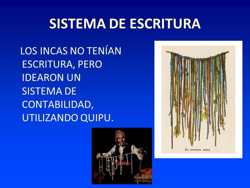SISTEMA DE ESCRITURA LOS INCAS NO TENÍAN ESCRITURA, PERO IDEARON UN SISTEMA DE CONTABILIDAD, UTILIZANDO QUIPU.