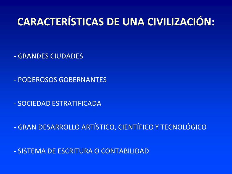 CARACTERÍSTICAS DE UNA CIVILIZACIÓN: