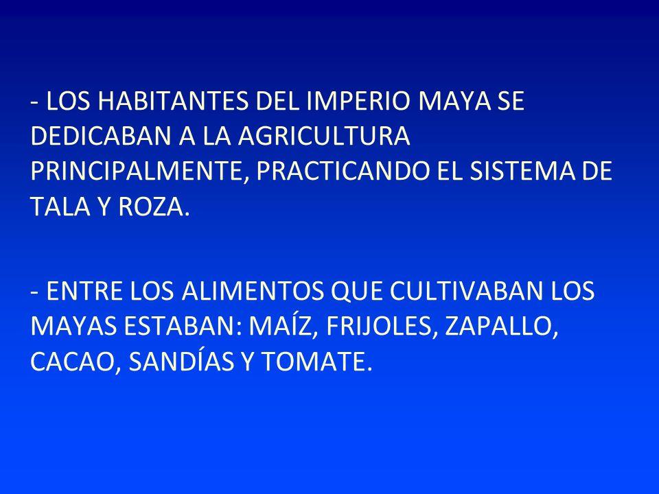 - LOS HABITANTES DEL IMPERIO MAYA SE DEDICABAN A LA AGRICULTURA PRINCIPALMENTE, PRACTICANDO EL SISTEMA DE TALA Y ROZA.