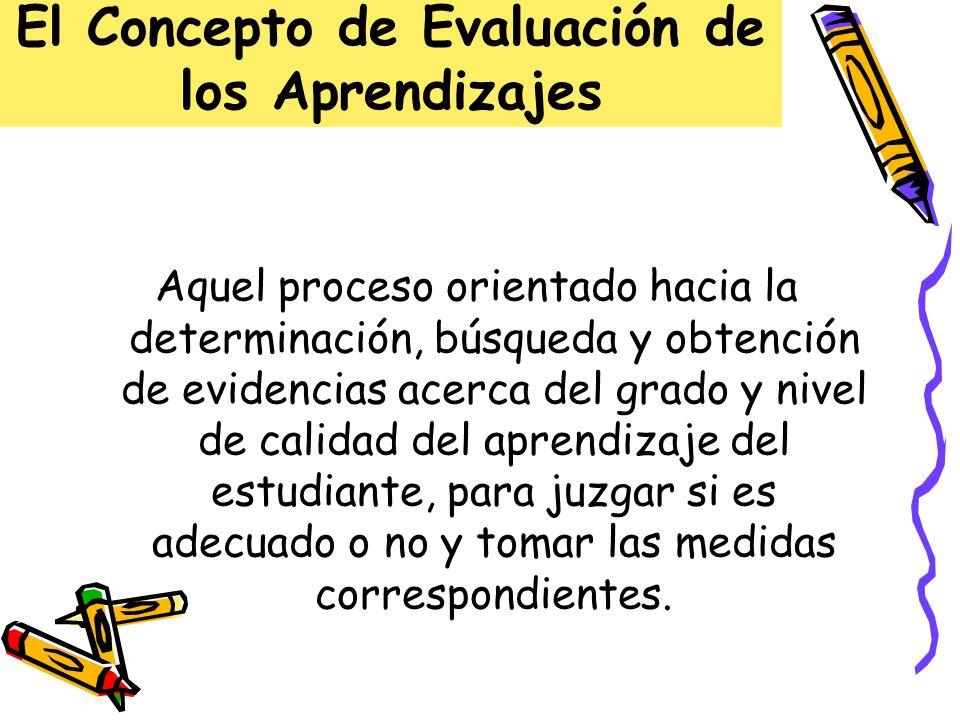 El Concepto de Evaluación de los Aprendizajes