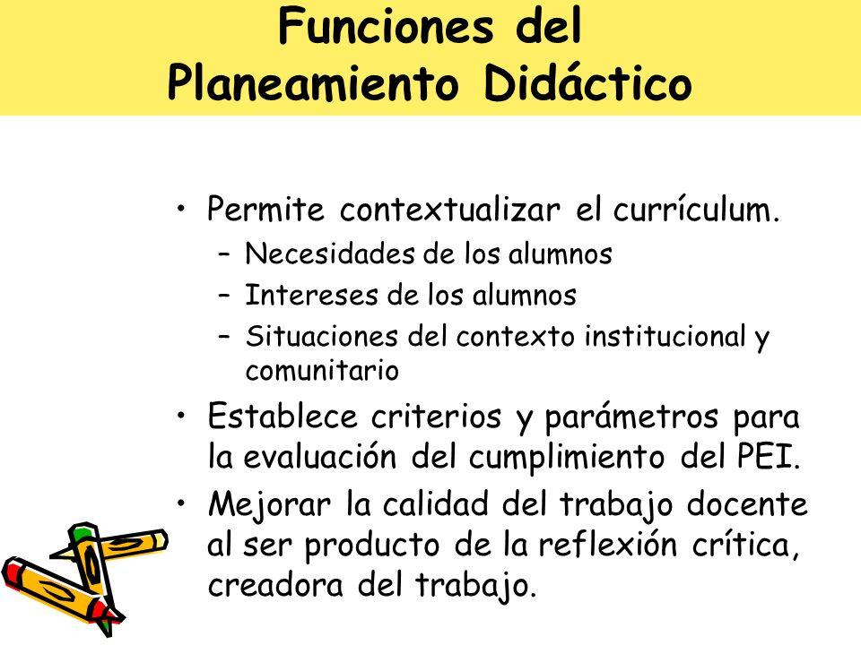 Funciones del Planeamiento Didáctico