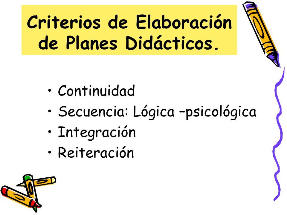 Criterios de Elaboración de Planes Didácticos.