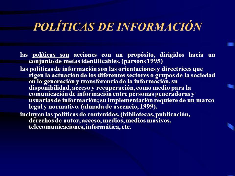 POLÍTICAS DE INFORMACIÓN