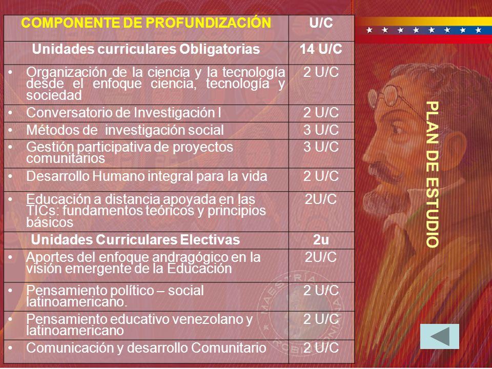 COMPONENTE DE PROFUNDIZACIÓN Unidades curriculares Obligatorias