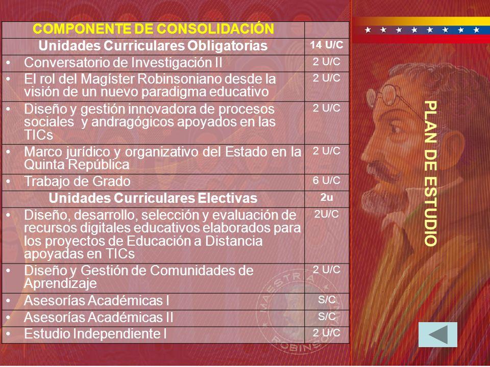 PLAN DE ESTUDIO COMPONENTE DE CONSOLIDACIÓN