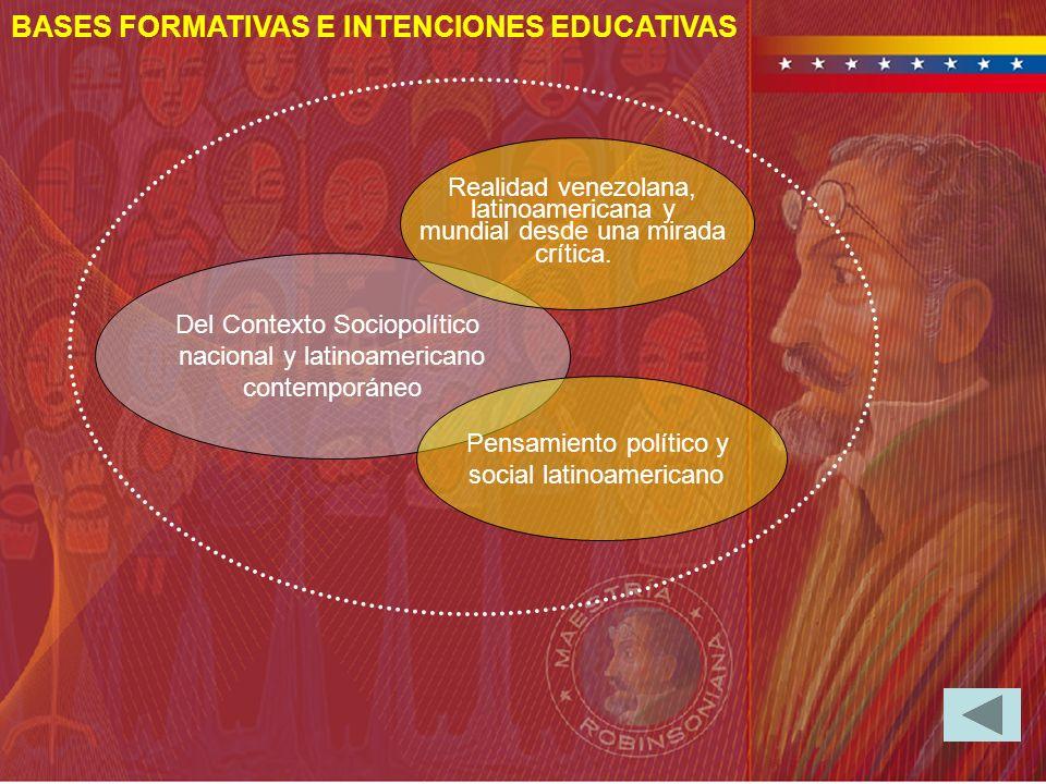 BASES FORMATIVAS E INTENCIONES EDUCATIVAS