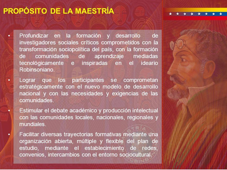 PROPÓSITO DE LA MAESTRÍA