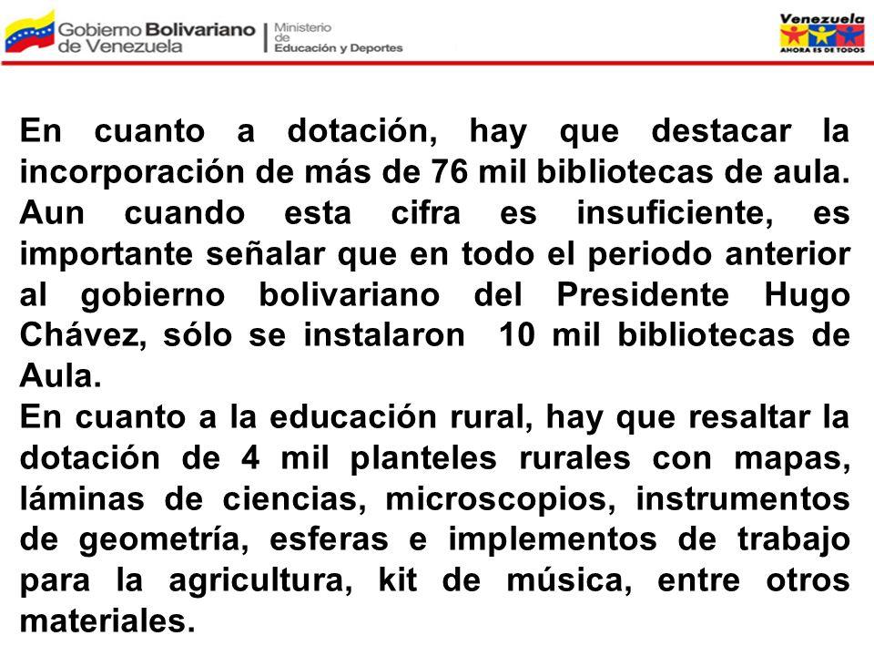 En cuanto a dotación, hay que destacar la incorporación de más de 76 mil bibliotecas de aula. Aun cuando esta cifra es insuficiente, es importante señalar que en todo el periodo anterior al gobierno bolivariano del Presidente Hugo Chávez, sólo se instalaron 10 mil bibliotecas de Aula.