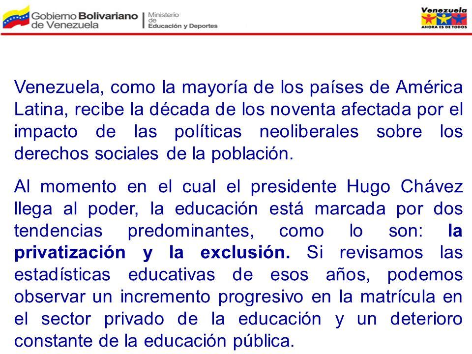 Venezuela, como la mayoría de los países de América Latina, recibe la década de los noventa afectada por el impacto de las políticas neoliberales sobre los derechos sociales de la población.