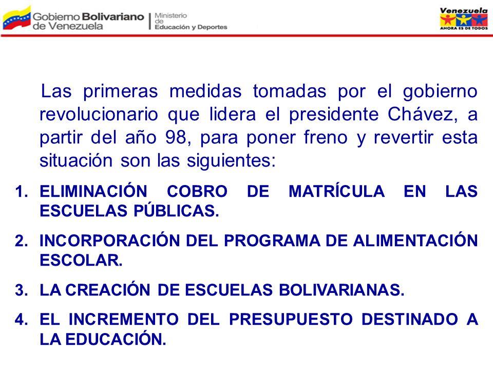 Las primeras medidas tomadas por el gobierno revolucionario que lidera el presidente Chávez, a partir del año 98, para poner freno y revertir esta situación son las siguientes: