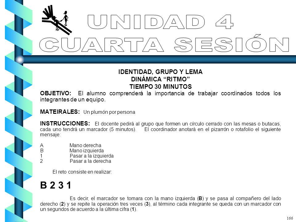 UNIDAD 4 CUARTA SESIÓN B 2 3 1 IDENTIDAD, GRUPO Y LEMA