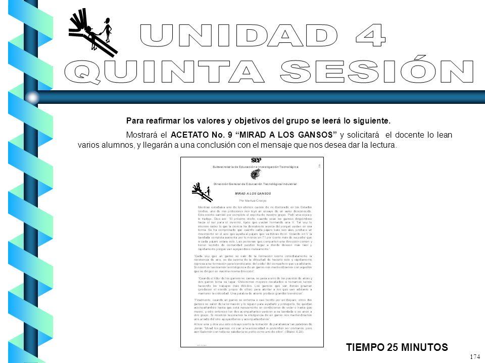 UNIDAD 4 QUINTA SESIÓN TIEMPO 25 MINUTOS