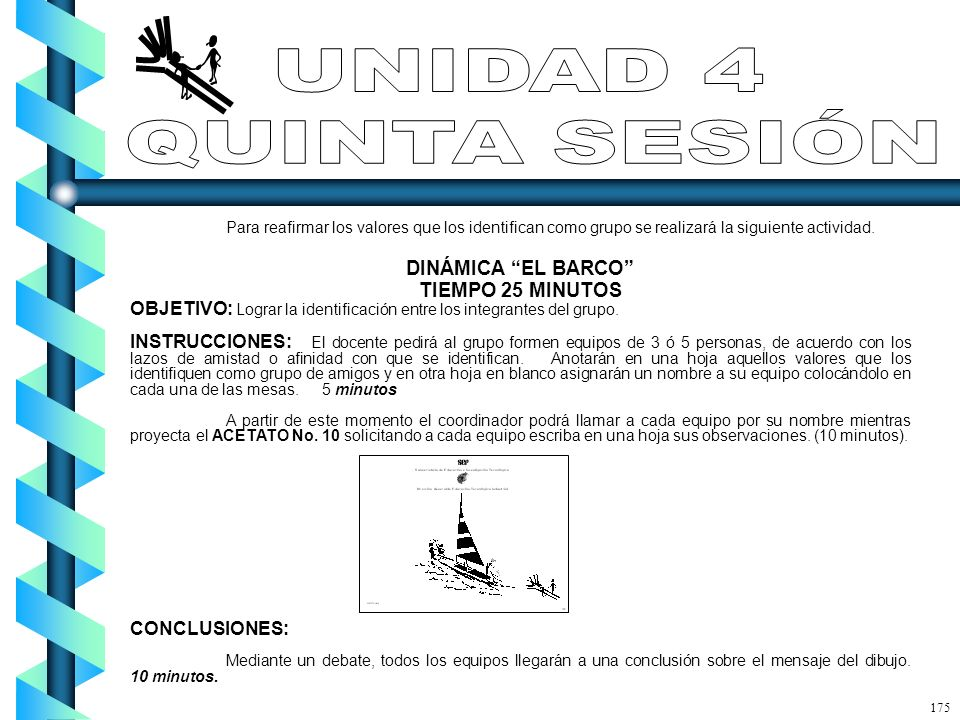 UNIDAD 4 QUINTA SESIÓN DINÁMICA EL BARCO TIEMPO 25 MINUTOS