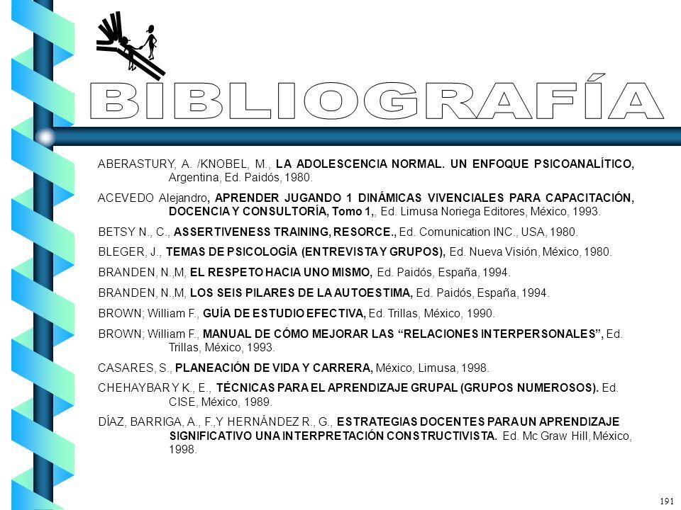 BIBLIOGRAFÍA ABERASTURY, A. /KNOBEL, M., LA ADOLESCENCIA NORMAL. UN ENFOQUE PSICOANALÍTICO, Argentina, Ed. Paidós, 1980.