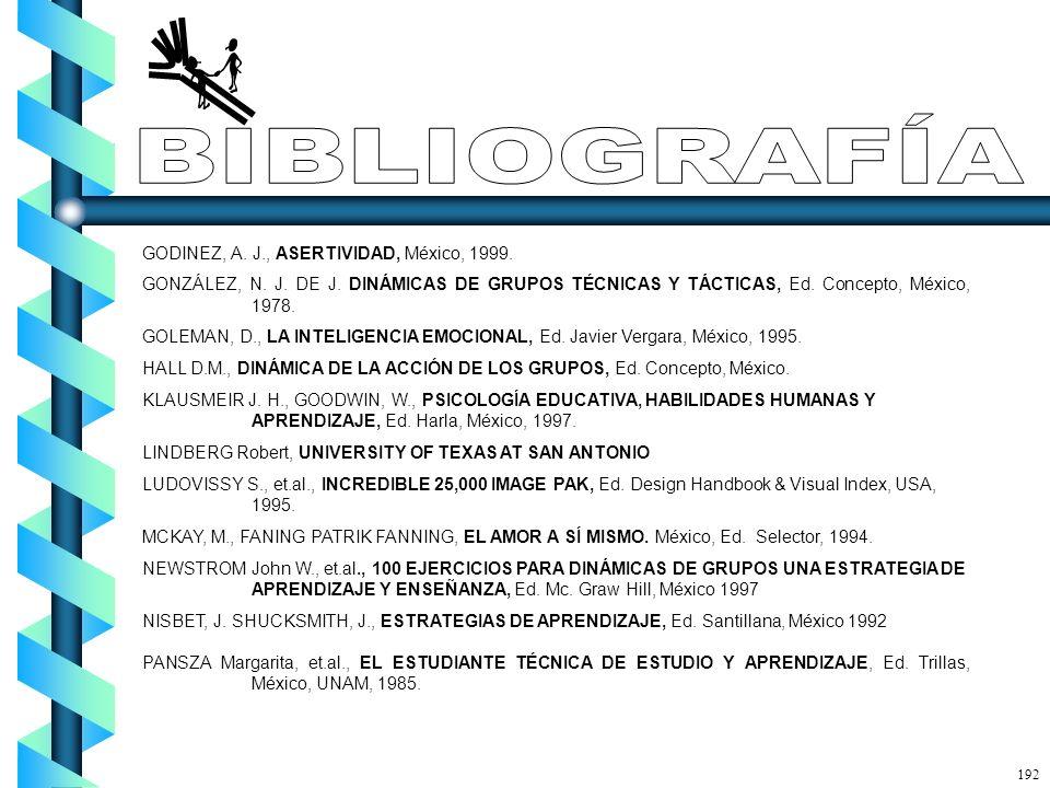 BIBLIOGRAFÍA GODINEZ, A. J., ASERTIVIDAD, México, 1999.