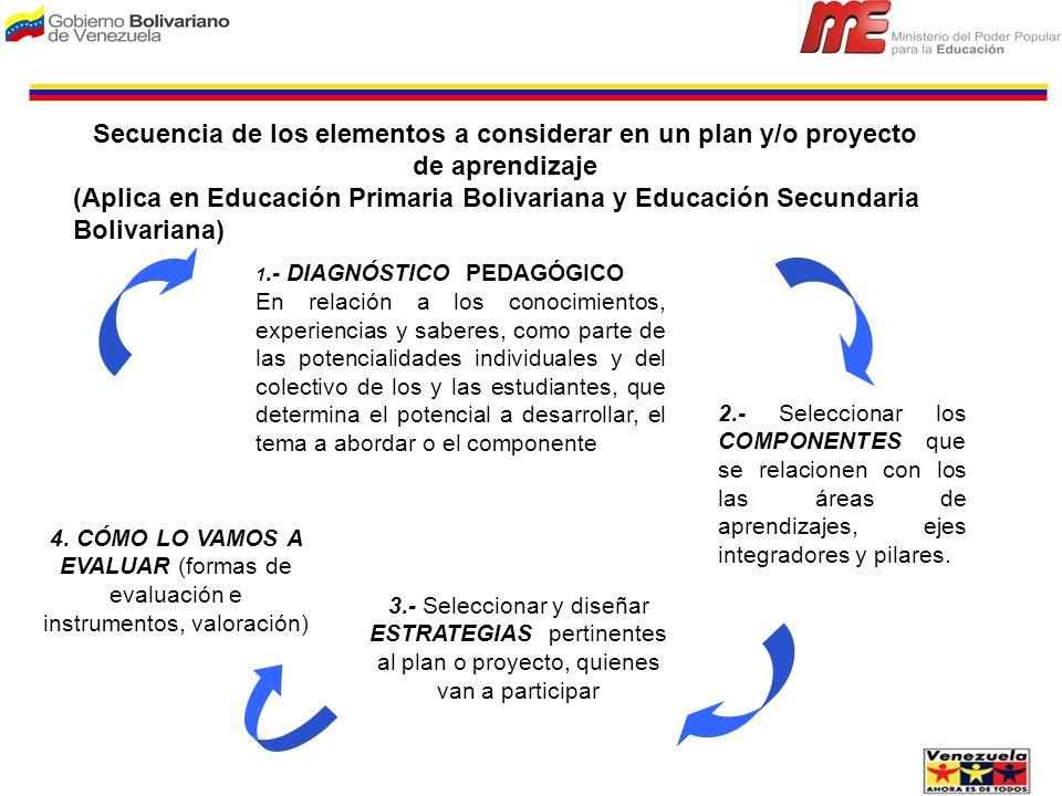 Secuencia de los elementos a considerar en un plan y/o proyecto