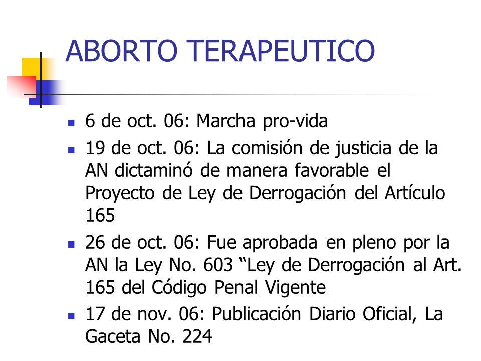 ABORTO TERAPEUTICO 6 de oct. 06: Marcha pro-vida