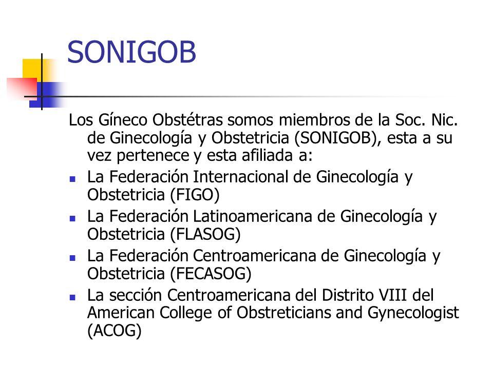 SONIGOBLos Gíneco Obstétras somos miembros de la Soc. Nic. de Ginecología y Obstetricia (SONIGOB), esta a su vez pertenece y esta afiliada a: