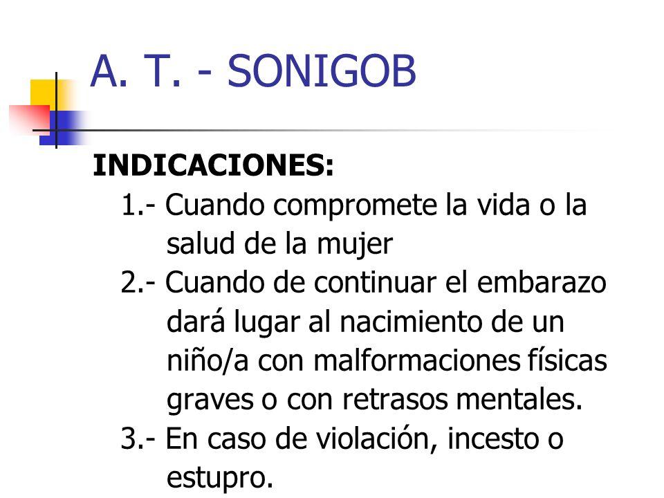 A. T. - SONIGOB INDICACIONES: 1.- Cuando compromete la vida o la