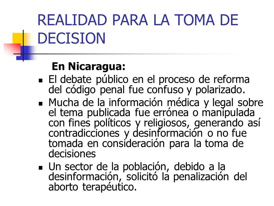 REALIDAD PARA LA TOMA DE DECISION