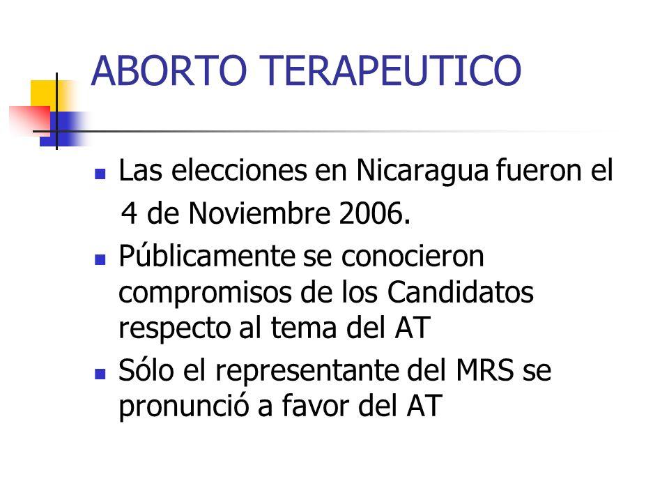 ABORTO TERAPEUTICO Las elecciones en Nicaragua fueron el