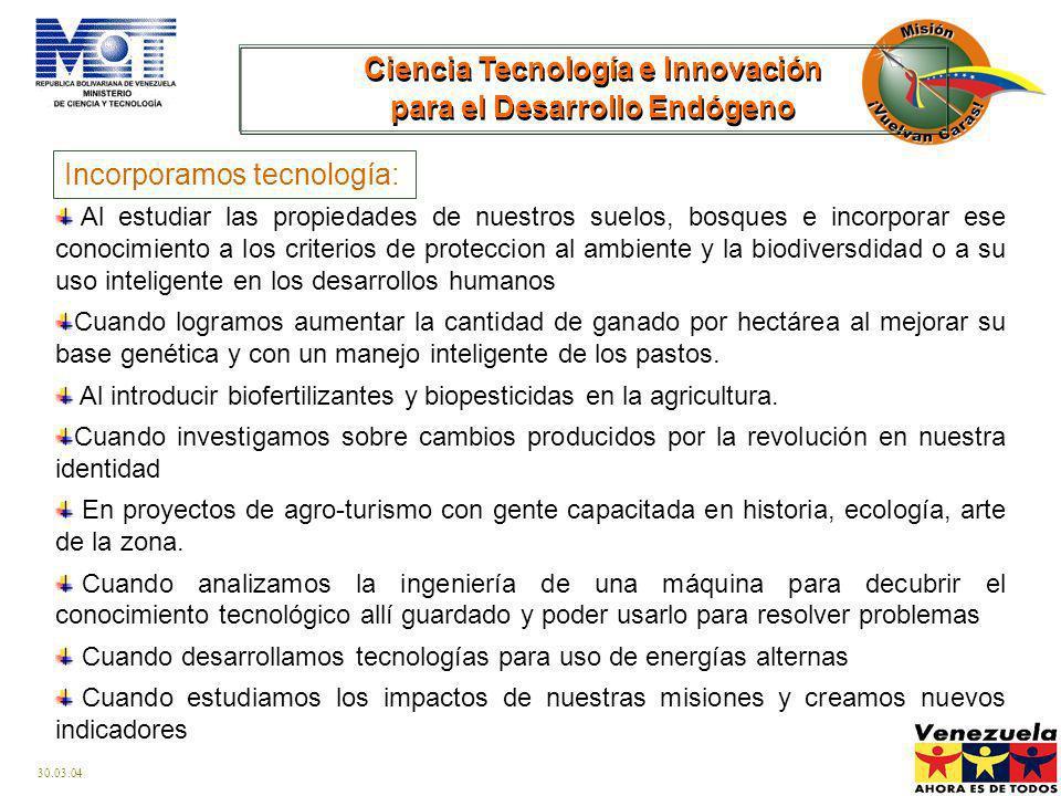Ciencia Tecnología e Innovación para el Desarrollo Endógeno