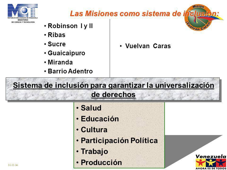 Sistema de inclusión para garantizar la universalización de derechos