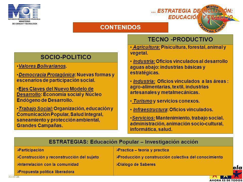 ESTRATEGIAS: Educación Popular – Investigación acción